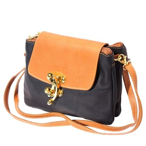 Cross body bag Viridiana in genuine leather colour black tan for women