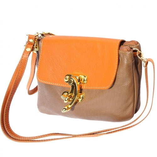 Cross body bag Viridiana in genuine leather colour dark taupe tan for women