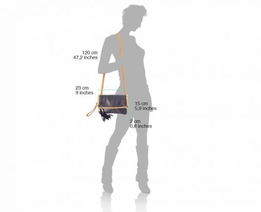 dark brown cross body bag clutch from real leather Ivona discounts free shipping from italy women