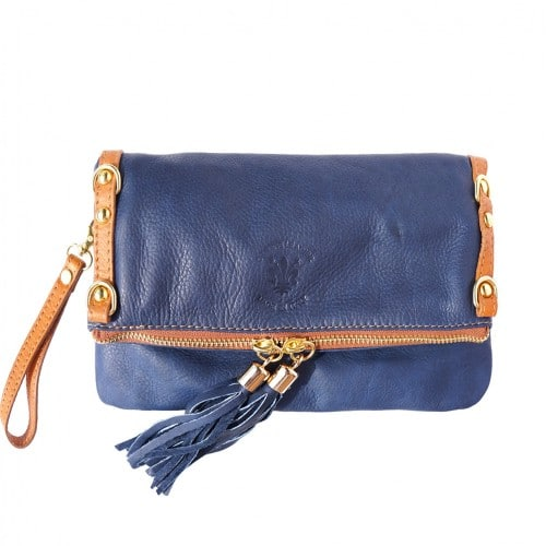 blue tan cross body bag in cow genuine leather Kira for woman