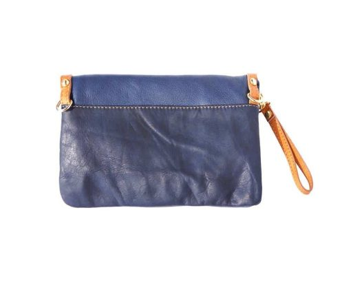 blue clutch from real leather Ivona discounts free shipping from italy for women