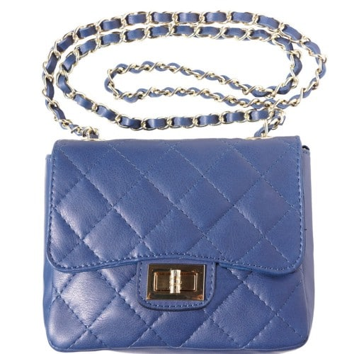 cross body bag in quilted genuine leather Vesta colour dark blue for women