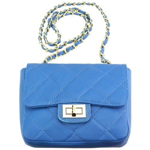 cross body bag in quilted genuine leather Vesta colour dark cyan for women