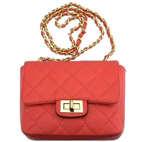 cross body bag in quilted genuine leather Vesta colour red for women
