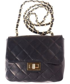 cross body bag in quilted genuine leather Vesta colour black for women