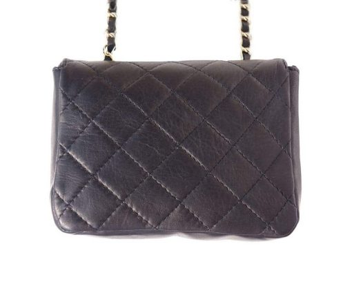 buy black bag in quilted genuine leather Louisse woman