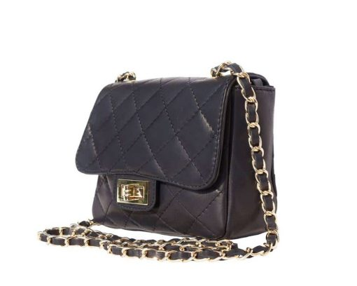 buy black bag in quilted leather Louisse for women