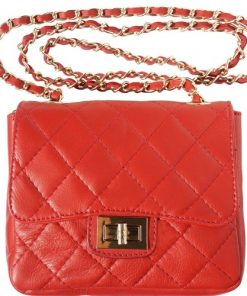 cross body bag in quilted genuine leather Vesta colour light red for women