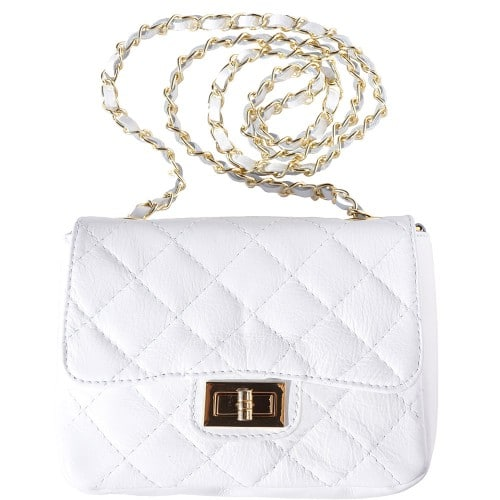 cross body bag in quilted genuine leather Vesta colour white for women