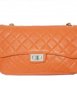 Cross body bag Vincenza from quilted genuine leather colour orange for women