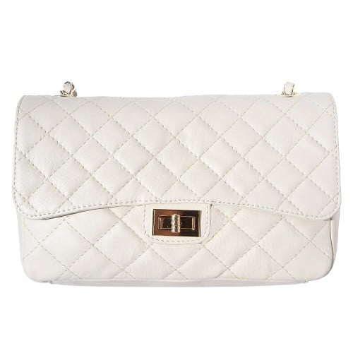 Cross body bag Vincenza from quilted genuine leather colour beige for women