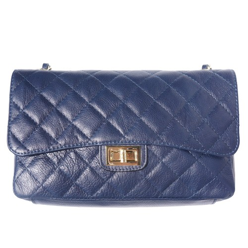 Cross body bag Vincenza from quilted genuine leather colour dark blue for women