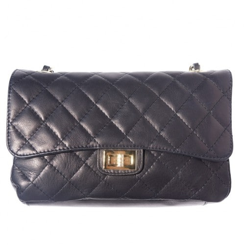 Cross body bag Vincenza from quilted genuine leather colour black for women