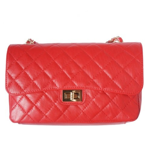 Cross body bag Vincenza from quilted genuine leather colour light red for women
