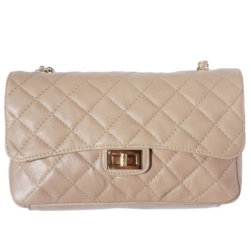 Cross body bag Vincenza from quilted genuine leather colour taupe for women