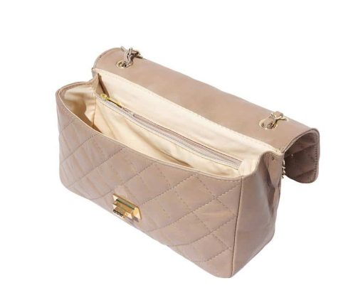 light taupe bags in quilted leather with lining Marilena woman