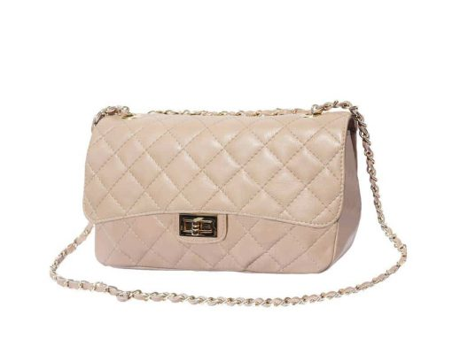 light taupe bags in quilted leather Marilena for women