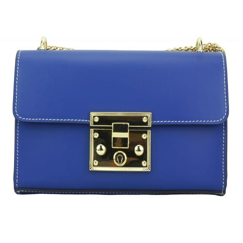 electric blue cross body bag with adjustable chain strap in genuine leather Ken women