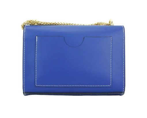 electric blue fashion bag with adjustable chain strap in leather woman