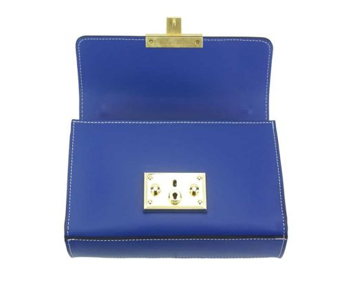 electric blue fashion bag with adjustable chain strap in genuine leather women