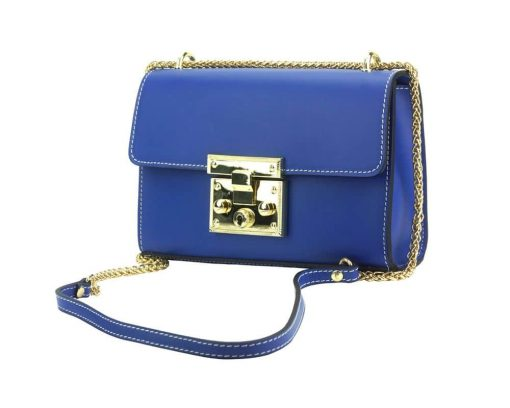 electric blue fashion bag with adjustable chain strap women