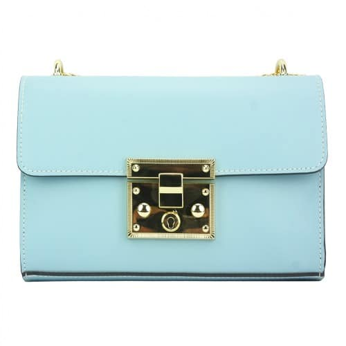 light cyan cross body bag with adjustable chain strap in genuine leather Ken women