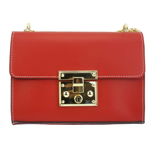 red bag with adjustable chain strap in genuine leather Ken women