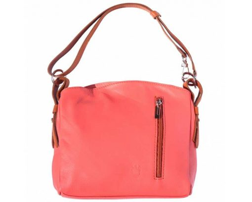 red shoulder bag in leather Beatrice for woman