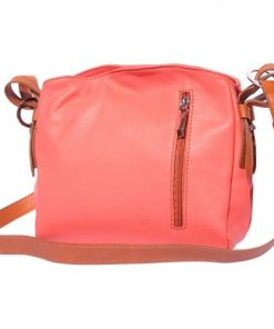 cross body bag in genuine leather Dorotea colour salmon pink tan for women