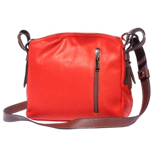 cross body bag in genuine leather Dorotea colour red brown for women
