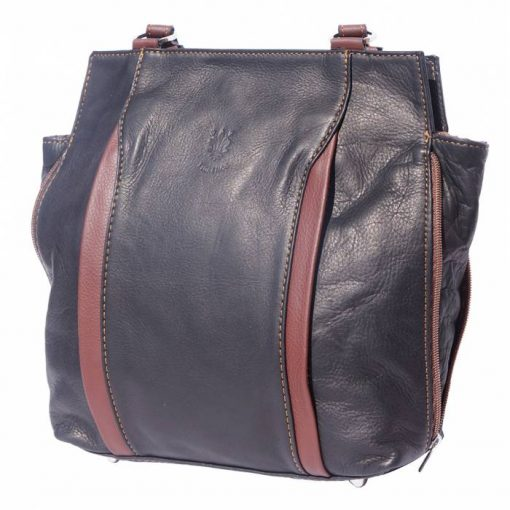 black brown shoulder bag arancia in real leather for woman