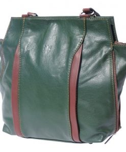 Shoulder-backpack genuine leather bag Margherita Colour Dark Green Brown for women