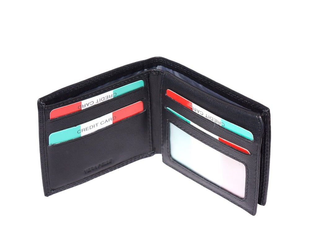 black wallet in leather Sabin from italy