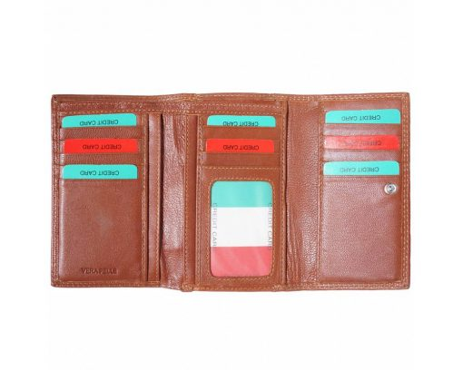 brown wallet in leather Ofelia women