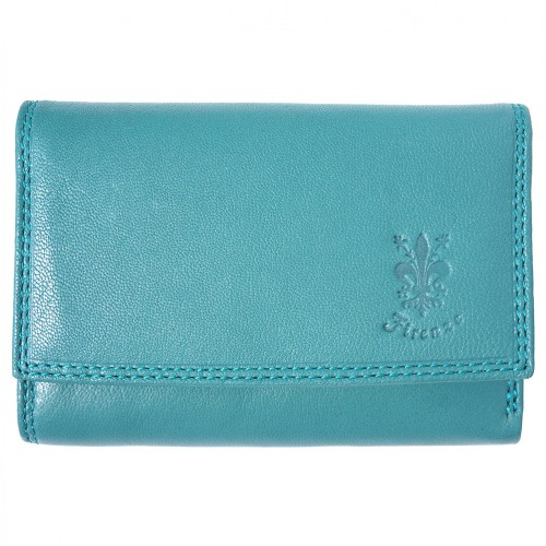 genuine Leather wallet Satinka Colour Turquoise for women