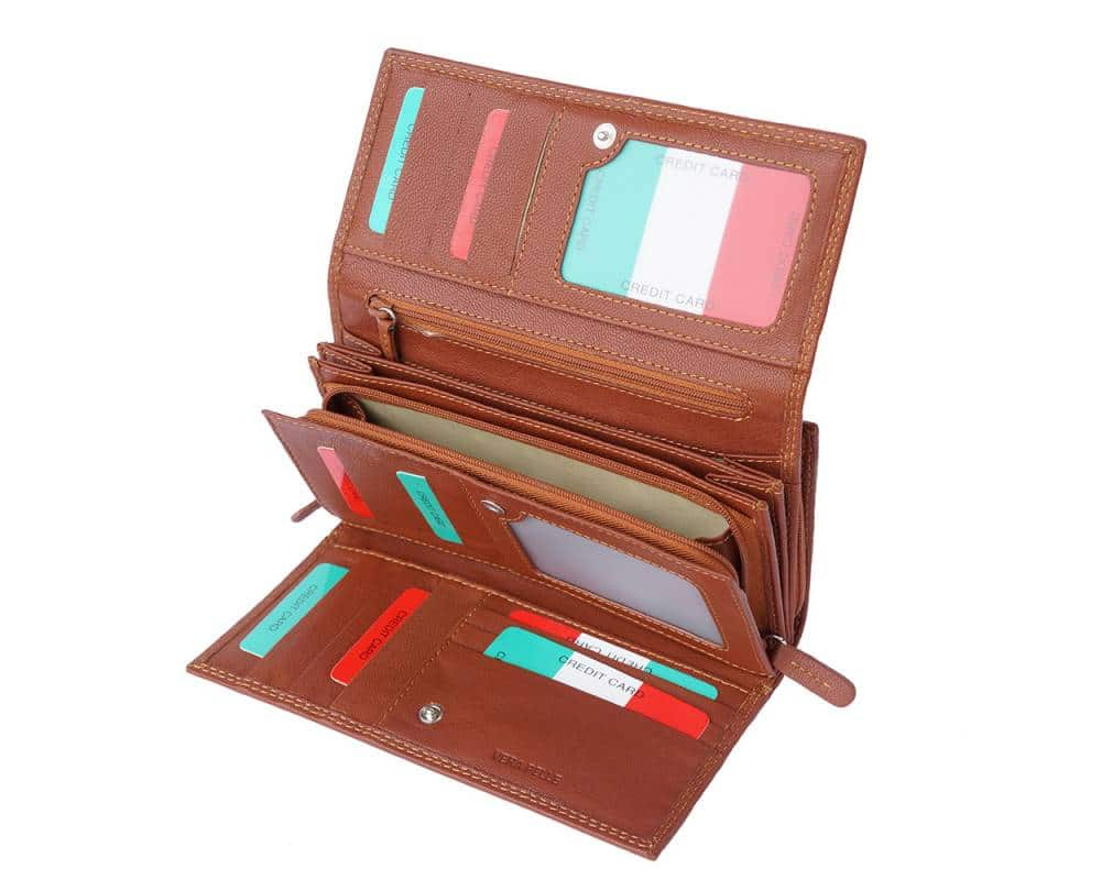 brown wallet of natural leather for woman natasa