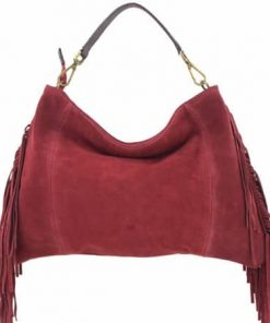 cross body bag Urania from genuine leather with fringe colour red buy online