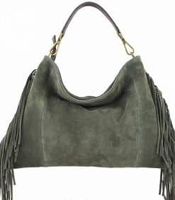 cross body bag Urania from genuine leather with fringe colour green buy for women