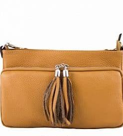 tan clutch in leather Ivilla woman
