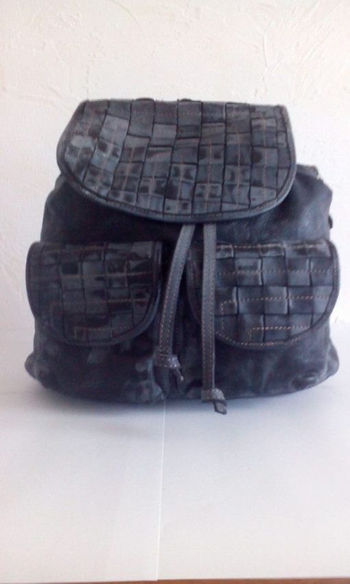 dark grey backpack sanio in woven natural leather for woman