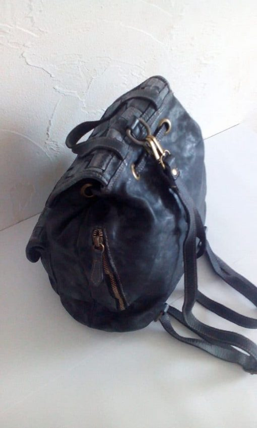 dark grey backpack sanio in woven real leather for man