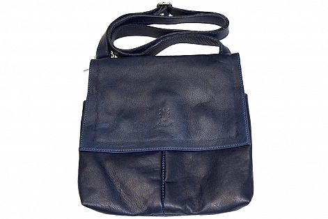 buy dark blue color cross body bag in genuine leather Ippolito man