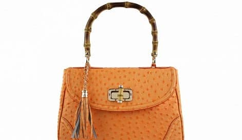 handbag Lina from genuine leather in style ostrich colour yellow buy form italy for women