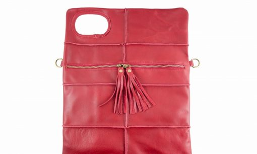 red clutch in genuine leather Wala woman