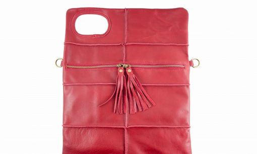 red clutch in leather Wala for women