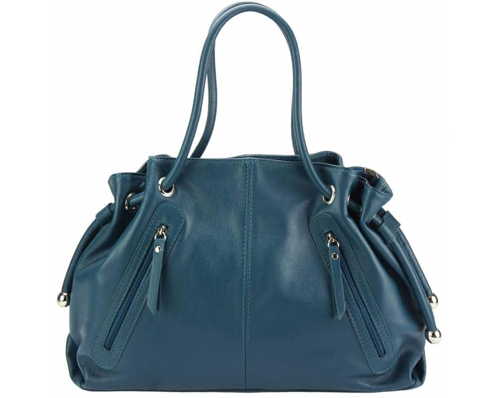 dark turquoise shoulder bag in real leather Juliana for women