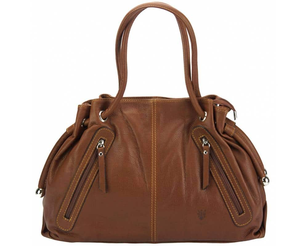 brown shoulder bag in real leather Juliana for women