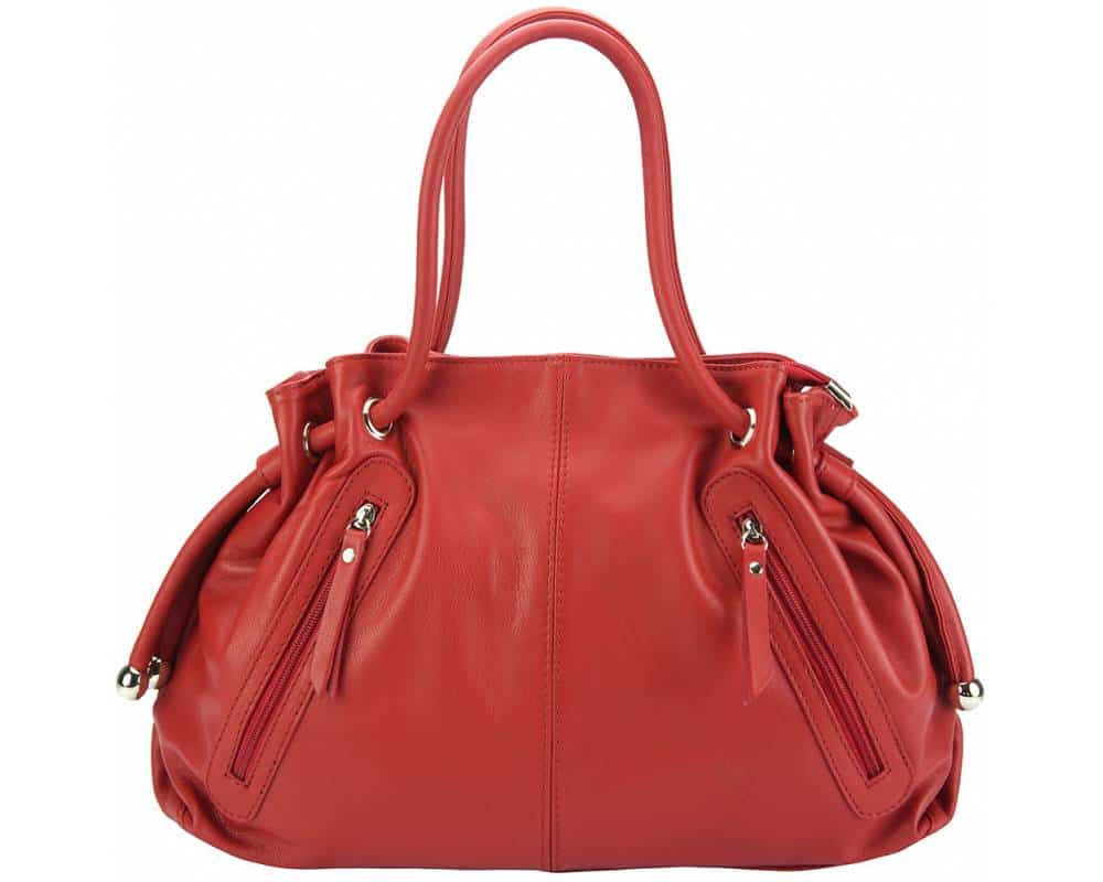red shoulder bag in real leather Juliana for women