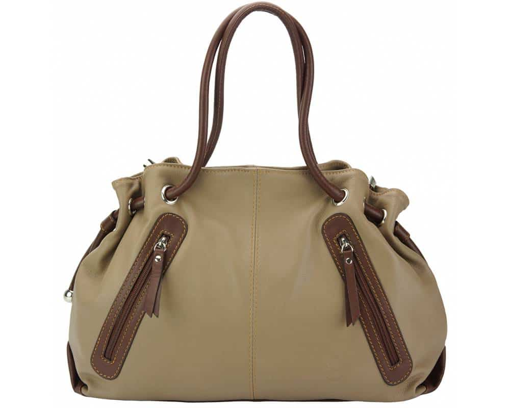 dark taupe brown shoulder bag in real leather Juliana for women