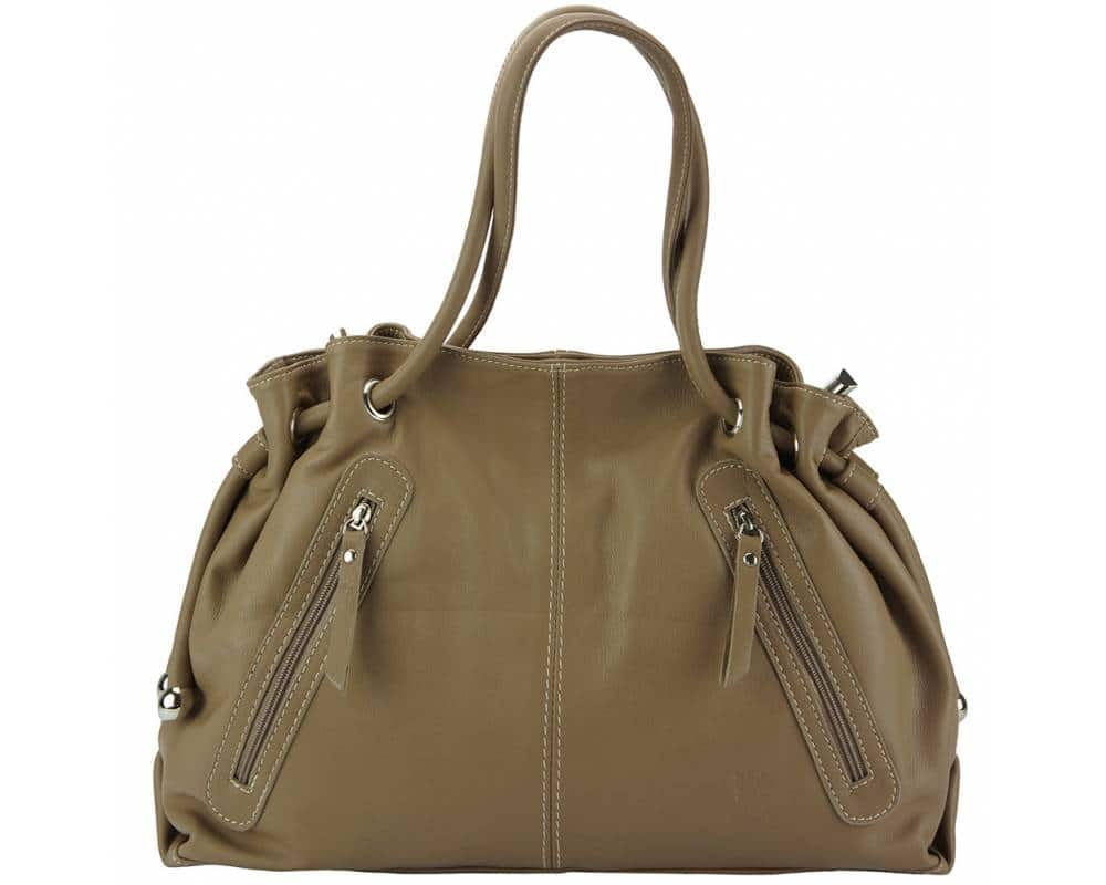 dark taupe shoulder bag in real leather Juliana for women